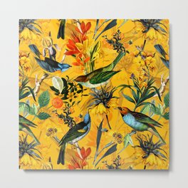 Vintage Flowers And Colorful Birds In Exotic Yellow Botanical Garden Metal Print