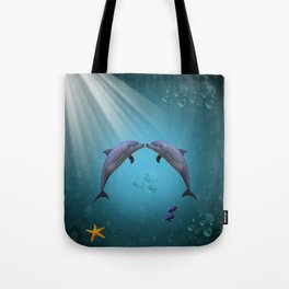 dolphins love Tote Bag