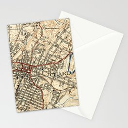 Vintage Map of Charlottesville Virginia (1949) Stationery Cards