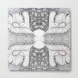 Black and White Zen Doodle 4 Metal Print