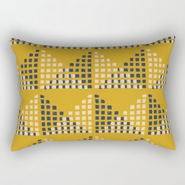 Layered Geometric Block Print in Mustard Rectangular Pillow