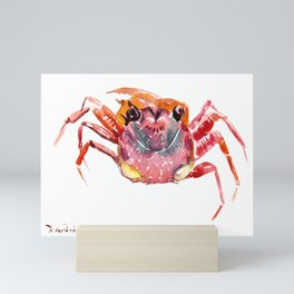 Crab, red pink orange kitchen artwork design Mini Art Print