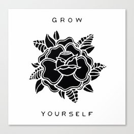 black rose/grow yourself Canvas Print