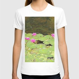 Pond with Pink Blooming Flowers T-shirt