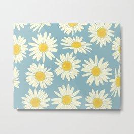 Vintage Daisy Pattern on Blue Metal Print
