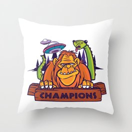 Social distancing Champions Throw Pillow