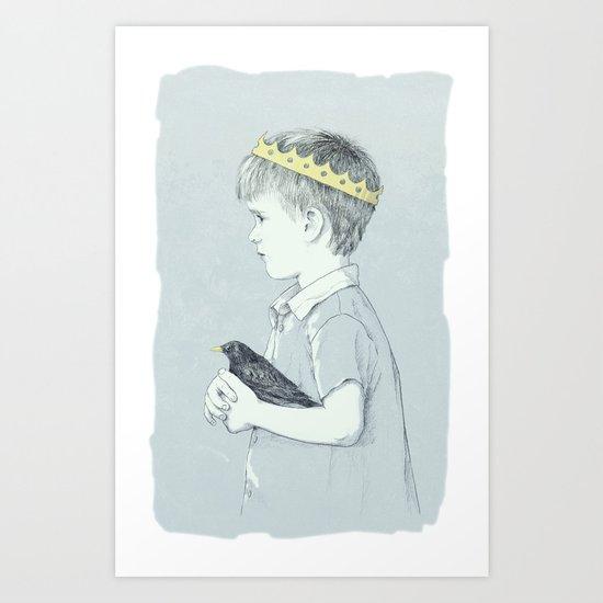 Boy and bird blue Art Print