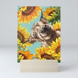 Highland Cow with Sunflowers in Blue Mini Art Print