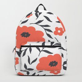 Red and Black Flowers Backpack