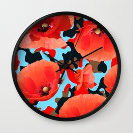 Poppie Camouflage Red Blue Wall Clock