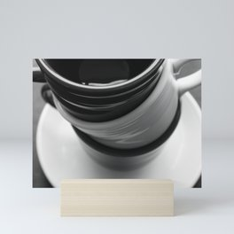 Black and White Coffee Cups Photograph Mini Art Print