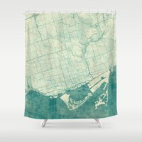 vintage map Shower Curtains featuring Toronto Map Blue Vintage by City Art Posters