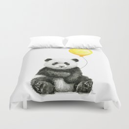 Panda Watercolor Animal with Yellow Balloon Nursery Baby Animals Duvet Cover