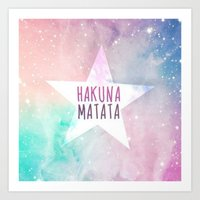 hakuna Art Prints featuring Hakuna Matata by Pink Berry Patterns