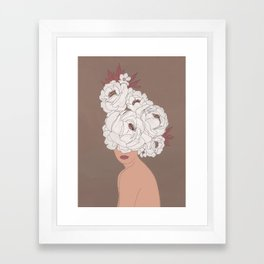 Woman with Peonies Framed Art Print