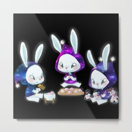 Mochi Moon Bunnies Metal Print