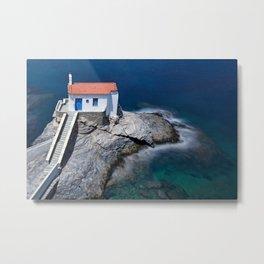 The beautiful church Agia Thalassini in Chora of Andros island, Greece Metal Print