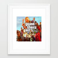 grand theft auto Framed Art Prints featuring Grand theft auto 5 by customgift