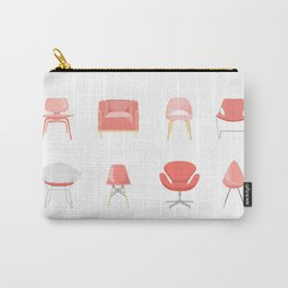 Set of Midcentury Modern Chairs in Living Coral Carry-All Pouch