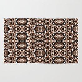 Brown, white and black spiral Mandala  #2778 Rug