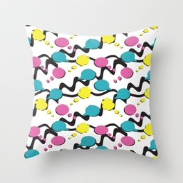 Colorful Thought Bubbles and Speech Bubbles Throw Pillow
