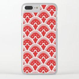 Fan Pattern Red 201 Clear iPhone Case