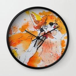 Red fox and fox cub Wall Clock