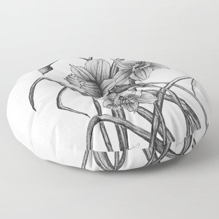Daffodil Sketch Floor Pillow