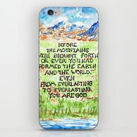 bible verse iPhone & iPod Skins featuring Bible Verse Illustration Psalm 90:2, Picture of Mountains by ArtistAdron