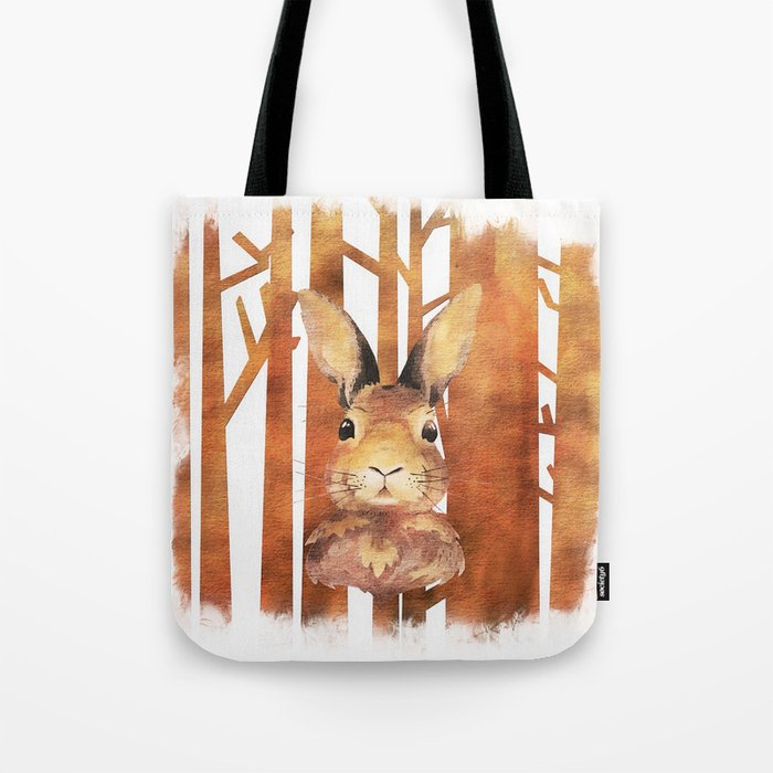 Fast Rabbit in the forest- abstract Hare watercolor Illustration Tote Bag