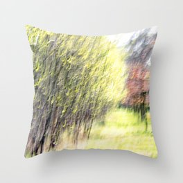 Abstract forest, intentionally blurred by camera shake Throw Pillow