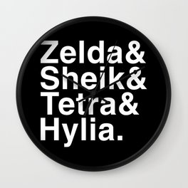 Zelda & Sheik & Tetra & Hylia helvetica list Wall Clock