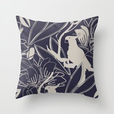 Cockatoo Evening Blue Throw Pillow