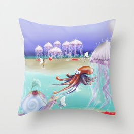Sea Life Fairy Island,Childrens illustration Throw Pillow