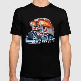 Patriotic American Flag Semi Truck Tractor Trailer Big Rig Cartoon T-shirt