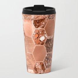 Rose gold hexaglam blonde Travel Mug