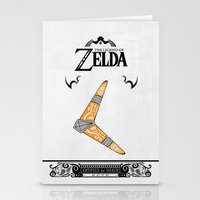the legend of zelda Stationery Cards featuring Zelda legend - Boomerang by Art & Be