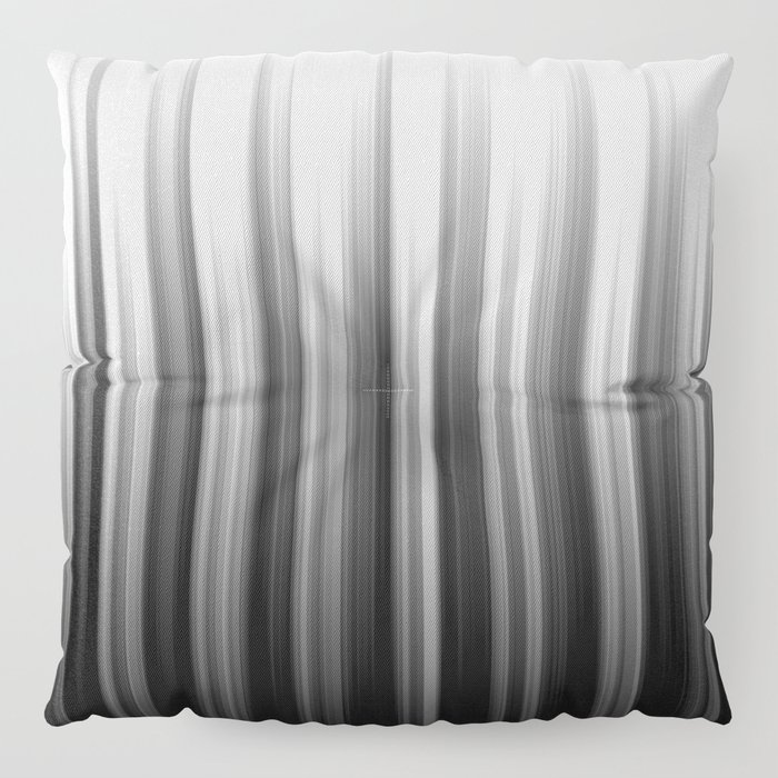 Black And White Soft Blurred Vertical Lines - Ombre Abstract Blurred Design Floor Pillow