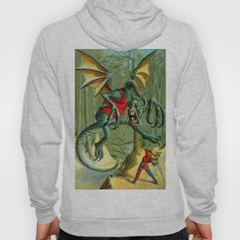 Alice and The Jabberwock in Color From Through The Looking Glass  Hoody