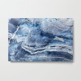 """Travel & nature photography """"details of a rock in blue colors. Abstract fine art mineral print.  Metal Print"""