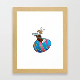 cowboy bunny riding a easter egg Framed Art Print