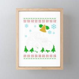 Tractor Ugly Sweater Farmer Christmas Gift Framed Mini Art Print