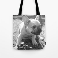 french bulldog Tote Bags featuring French Bulldog by Kathleen Schulze