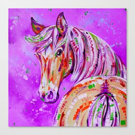 Cinnamon in Pink - Palomino Horse Art Canvas Print