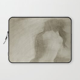 Charcoal Female Nude Drawing Sitting Woman Back View Laptop Sleeve