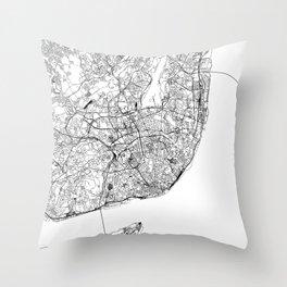 Lisbon White Map Throw Pillow