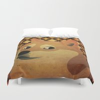 doge Duvet Covers featuring So Doge.  Much art. Wow. by Sam Pickle