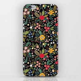 Amazing floral pattern with bright colorful flowers, plants, branches and berries on a black backgro iPhone Skin