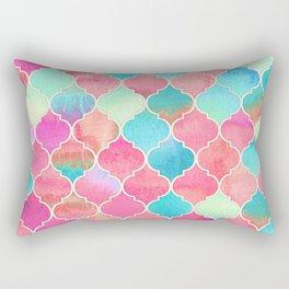 Watercolor Moroccan Patchwork in Magenta, Peach & Aqua Rectangular Pillow