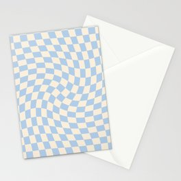 Check II - Baby Blue Twist — Checkerboard Print Stationery Cards